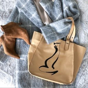 Leather shopper bag with appliqué